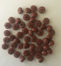 50 Antique Vintage Tan/Brown Shoe Boot Buttons Metal Shank 12Mm Bear Eyes Nos