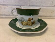 """Antique Porcelain Breakfast Cup and Saucer """"Green Labrador"""""""