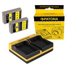 2x Batteria Patona + caricabatteria USB dual per Olympus E-450,E?P3,OM-D E-M10