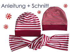 Schnitt + Nähanleitung Beanie Mütze (auch Wendemütze) mit Schal als Ebook