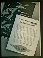1943 FUTURE HELICOPTER FUTURISTIC FRANKLIN MOTORS WWII vintage Trade print ad
