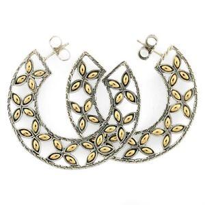 Designer JOHN HARDY 18k Gold & Sterling Silver 925 Batu Kawung Hoop Earrings