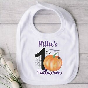 Personalised First Halloween Baby Bib Pumpkin Design