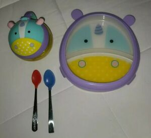 Lot of 4 Baby Toddler Skip Hop Zoo Matching Divided Plate & Snack Cup BPA Free
