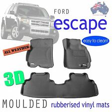 Suits Ford Escape 2003 - 2012 Genuine 3D Grey Rubber Floor Mats - ZA ZB ZC ZD