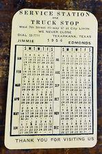 1954 Service Station Truck Stop Open 24 Hours Texarkana TX Texas Pocket Calendar
