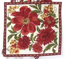 4 Cotton Fabric Napkins Red Gold Green Flowers 15 X 16 Sustainable