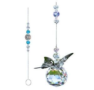 Butterfly Suncatcher Crystal Ball Prisms Sun Catcher Feng Shui Hanging Pendant