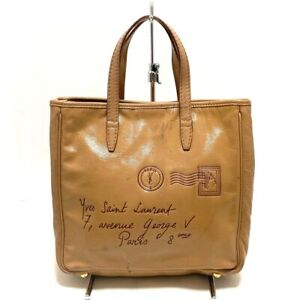 Auth YvesSaintLaurent rivegauche YSL Y-Mail 197699 Beige Patent Leather Tote Bag