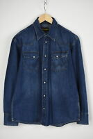 WRANGLER WESTERN DENIM SHIRT Men's LARGE Fade Effect Snap Buttons Shirt 29163-JS