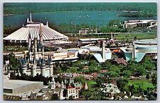 Aerial View of Walt Disney World Skyline Magic Kingdom Chrome Postcard Unused