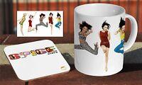 The Spice Girls Ceramic Coffee MUG + Wooden Coaster Set