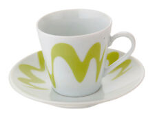 TOP MOKA SET 2 PZ TAZZA CAFFE' CON PIATTINO GOCCIOLINE VERDE IN PORCELLANA 81227