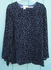BLOOMINGDALE'S Dressy Black  Rayon Silk Velvet Burnout Tunic Top Blouse L/XL