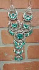 JULES Bohemian Chic Turquoise Silver Bib Statement Necklace Turkish India Beads