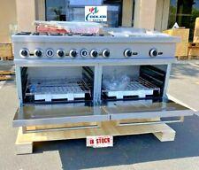 New 60 6 Burner Gas Range 24 Char Broiler Grill 2 Full Size Standard Oven Nsf