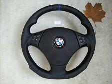 BMW E90 E91 E84 NAPPA/PERF. LEATHER ERGONOMIC INLAYS STEERING WHEEL FLAT carbon