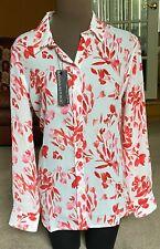 New BANANA REPUBLIC Dillon Fit Blouse Top Floral Red Coral Sz L 12 14 $80