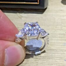 More details for 5 carat solid 925 sterling silver ring three-stone pageant luxur created diamond