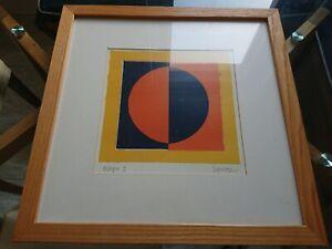 Speltz art, signed print, framed, eclipse, in solid wood frame