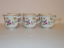 6 x White Ceramic Footed Cups with Floral Design Cups - Lovely
