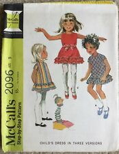 Vintage 1960's McCalls Child's A Line Dress With Ruffles Cut Sewing Pattern 2096