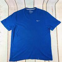 Vintage NIKE Blue Swoosh Tick Sports T-Shirt Mens Size XL X Large