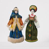 Poccnr Russian Kakoshnik Sarafan Porcelain Dolls Traditional Folk Costume Dress