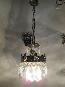 A Pair Antique Vintage Basket Style Crystal Chandelier lamp light 1940s 6 in Dmt