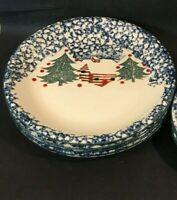 "Tienshan Cabin In the Snow Folk Craft Lot of 4 Dinner Plates 10.5"" Sponge Blue"