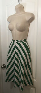 Anthropologie 9-H15 STCL sz 0 Lined Chevron Green White Linen Rayon Skirt