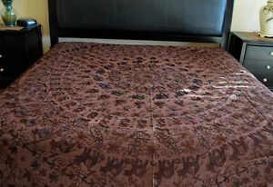 Brown color Cotton Bedspread cover embroidered elephant all over from India