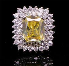 Cubic Zirconia Designer Yellow Crystal Halo Setting Ring 330  0RC