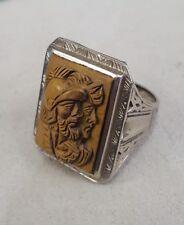 Vintage large Tiger's Eye Intaglio Gents Ring 14K Gold Sz 7.75