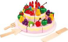 Torta di compleanno da tagliare in legno. accessorio cucina gioco bambini