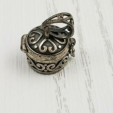 Sterling Triple Moon Poison Locket with Rainbow Moonstone opens magical secrets