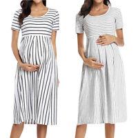 Women Summer Pregnant Maternity Casual Stripe Print Tunic Short Sleeve Dress AU