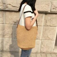 Simple Beach Straw Bag Women Handmade  Woven Tote Shoulder Bohemian Handbag