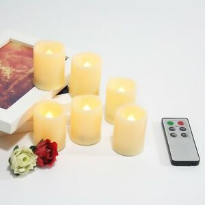 Flameless Flicker LED Battery Operated Votive Candles w/ Remote and Timer 6-Pack