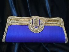 Blue Gold Handbag Clutch Wallet Bollywood Indian Diwali Dress Purse Art Silk