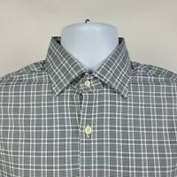 Peter Millar Summer Comfort Black Check Plaid Mens Dress Button Shirt Medium M