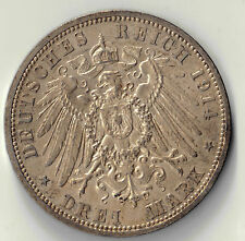 1914 A  IMPERIAL GERMANY WILHELM II SILVER DREI MARK COIN #24185