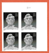 US Abraham Lincoln Memorial a Plate Block *No Die-Cut/IMPERF* 2014 MNH