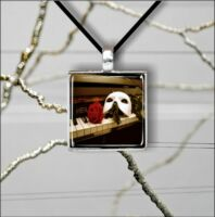 PHANTOM OF OPERA MASK ON PIANO SQUARE CABOCHON GLASS PENDANT NECKLACE