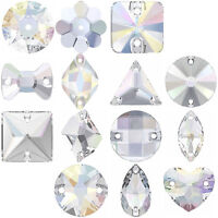 "Swarovski Sew-on Stones CRYSTAL AB (001 AB) jewelry sample ""Pick Shape & Size"""