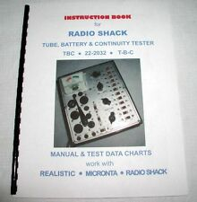 Manual Charts Realistic Micronta Tube Battery Tester TBC 22-2032 Aka Eico 636