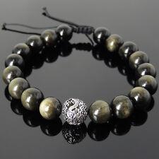 Men's Braided Bracelet 10mm Golden Obsidian 925 Sterling Silver Dragon Bead 919M