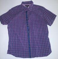 Banana Republic Mens Size Large Blue Purple Plaid Short Sleeve Button Down Shirt