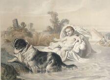 Bébé sauvé par un chien par Joseph FÉLON (1818-1896) litho vers 1850 sauveteur