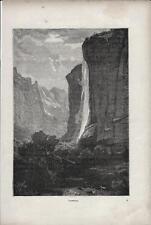 Stampa antica Cascata di STAUBBACH Berna Svizzera 1890 Old Print Switzerland